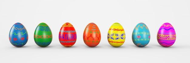 Conjunto de ovos realistas no fundo branco. ilustração de renderização 3d. Foto Premium