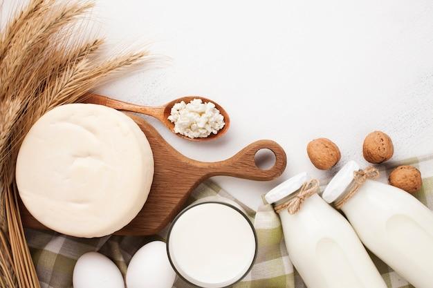 Conjunto de produtos lácteos frescos Foto gratuita