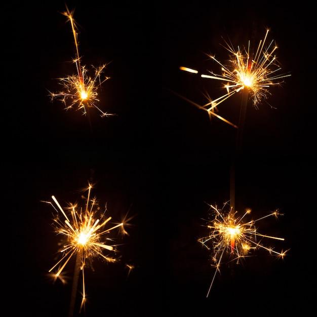 Conjunto de quatro grandes sparklers Foto gratuita