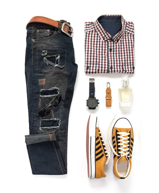 Conjunto de roupas e acessórios de moda homem Foto Premium