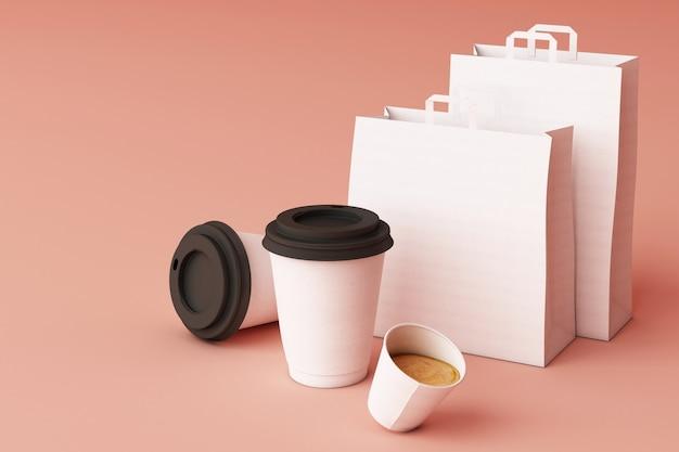 Conjunto de sacola de compras de papel branco e copos de café na renderização em 3d fundo rosa pastel Foto Premium