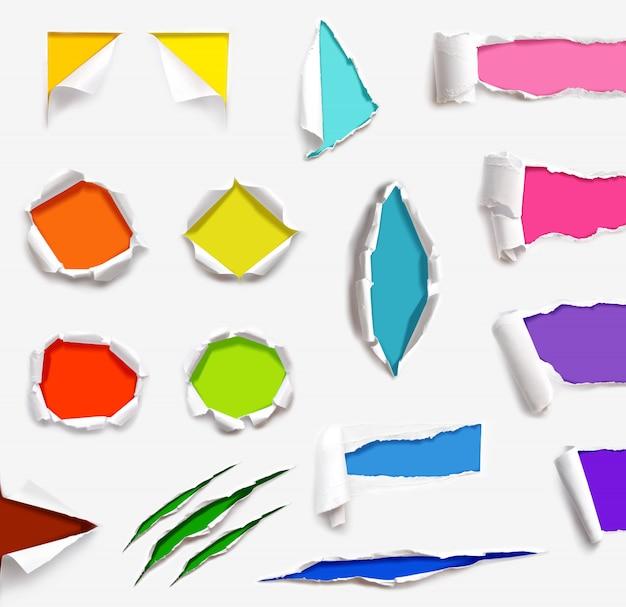 Conjunto de textura rasgada papel modelo isolado fundo branco Foto Premium