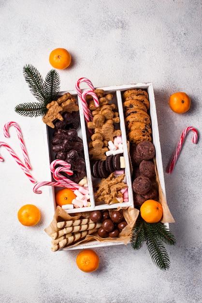 Conjunto de vários biscoitos de natal Foto Premium