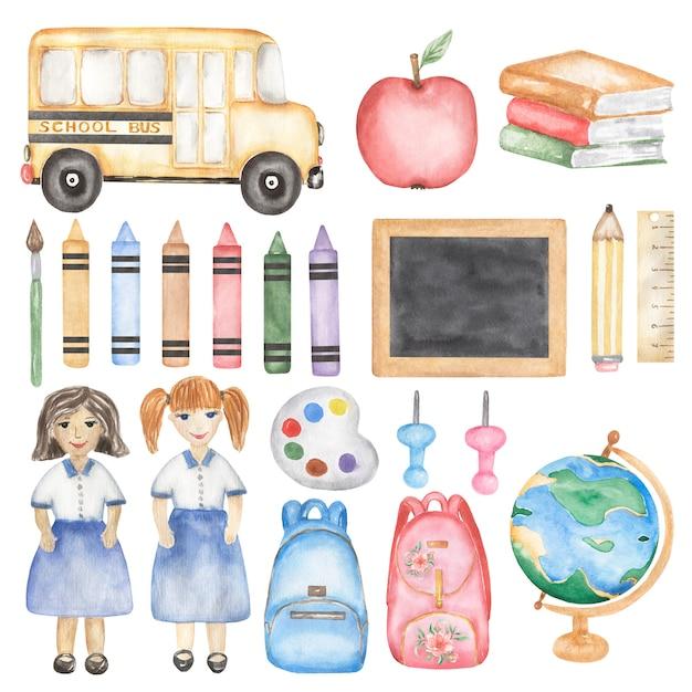 Conjunto de volta às aulas clipart, ônibus escolar de aquarela, professor, menina, livros, material escolar, ilustração de giz de cera, papelaria, educação, globo, arte infantil Foto Premium