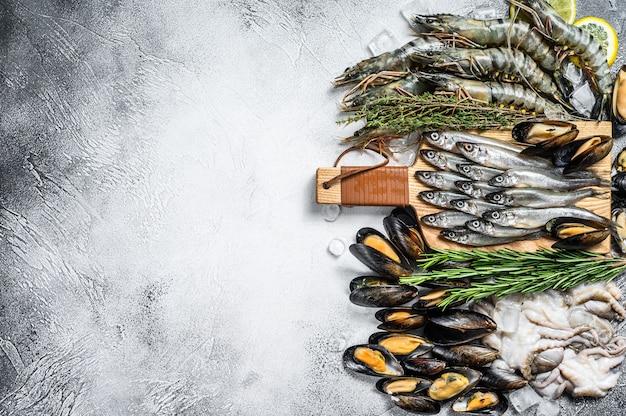 Conjunto variado de frutos do mar frescos Foto Premium