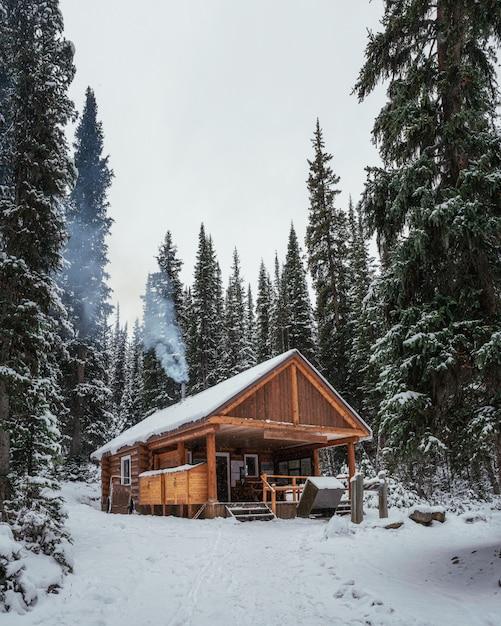Construção de madeira do abrigo com acender uma lareira e venda de padaria e bebida no lago o'hara Foto Premium