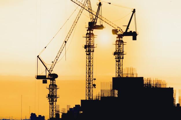 Construção de silhouette city Foto Premium