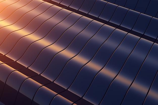 Construção ondulada de metal preto. fundo abstrato Foto Premium