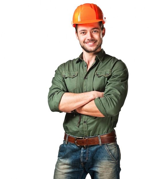 Construtor jovem emocional Foto Premium