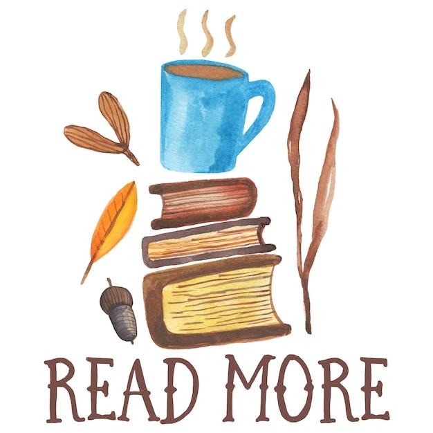 Consulte mais informação. ilustração bonito da aguarela do café mugplaced em dois livros. vibes aconchegantes outono, Foto Premium