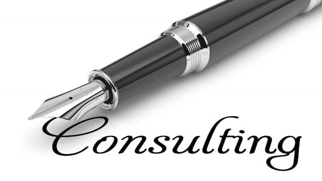 Consultoria palavra manuscrita com caneta tinteiro Foto Premium