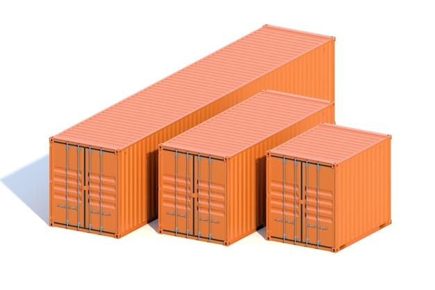 Contêineres de carga para navios marrons 10, 20 e 40 pés de comprimento Foto Premium