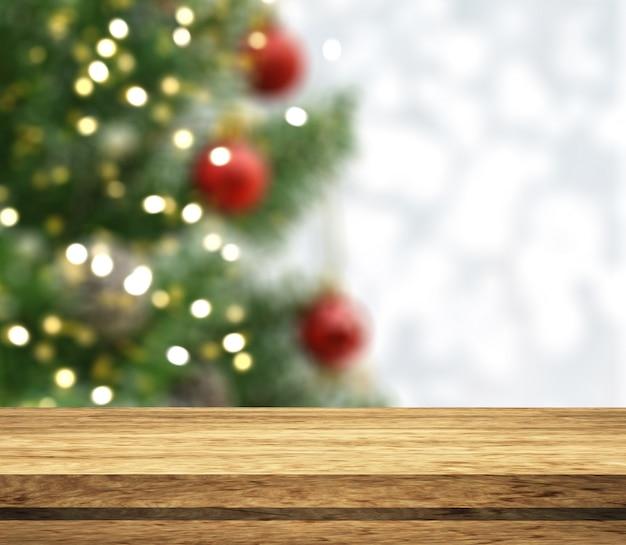 Conto de madeira 3d, olhando para uma árvore de natal desfocada Foto gratuita