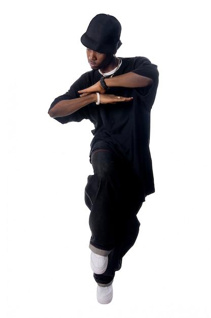 Cool jovem hip-hop homem no fundo branco Foto gratuita