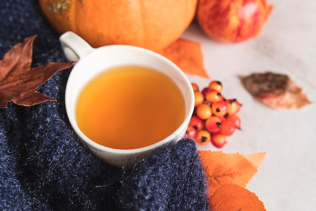 Copa com chá perto de cachecol e bagas de malha Foto gratuita