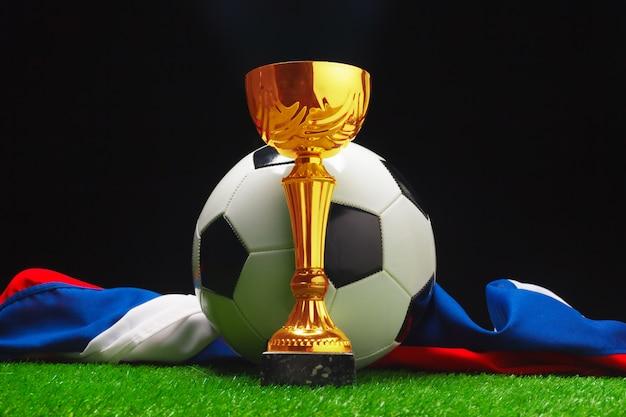 Copa de futebol com bola de futebol na grama Foto Premium