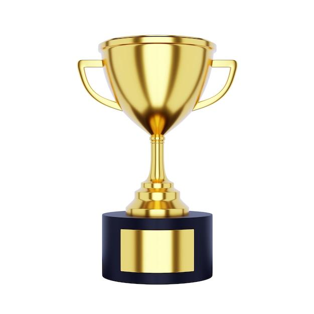 Copa do troféu de ouro isolada no fundo branco Foto Premium