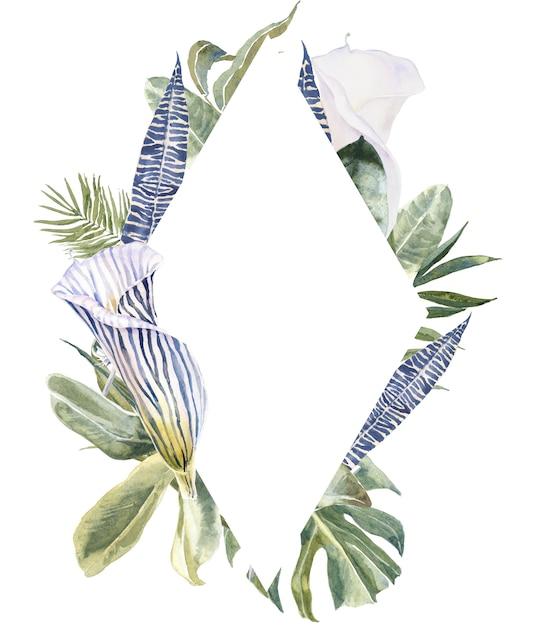 Cópia da pele animal das flores selvagens, quadro tropical das folhas. borda floral exótica Foto Premium