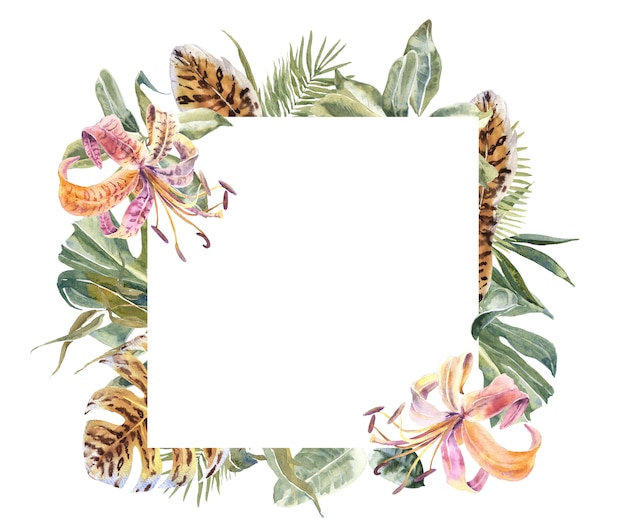 Cópia da pele de animal de lili flowers, quadro tropical das folhas. borda floral exótica Foto Premium