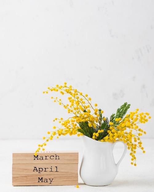 Cópia-espaço primavera meses e flores Foto gratuita
