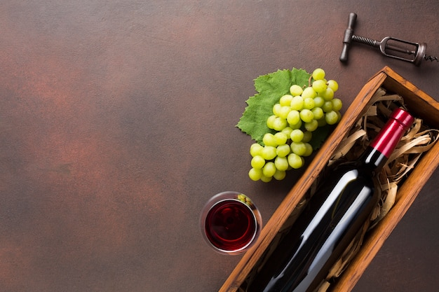 Copie o espaço com garrafa cheia de vinho Foto gratuita