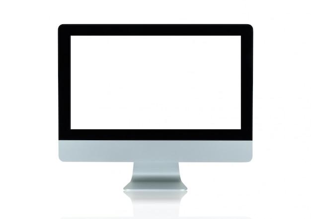 Copie o espaço na propaganda da exposição de tela do monitor do computador isolada no branco Foto Premium