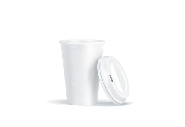 Copo de papel descartável branco em branco com tampa de plástico aberto Foto Premium