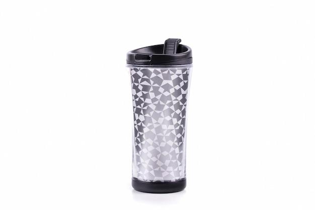 Copos de copo de plástico ou copo de viagem de garrafa térmica Foto Premium