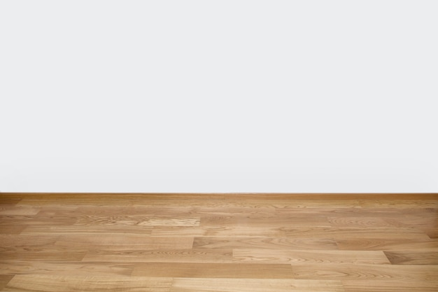 Copyspace fundo com uma parede branca vazia com um piso de madeira de madeira Foto Premium