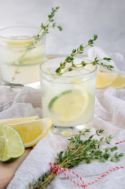 Coquetel à base de gim, suco de limão ou suco de limão e notas de tomilho Foto Premium