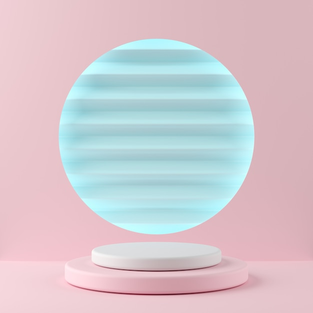 Cor branca da forma abstrata da geometria e pódio cor-de-rosa da cor no fundo azul da cor para o produto. conceito mínimo. renderização em 3d Foto Premium