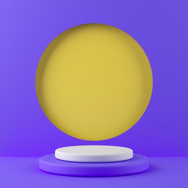 Cor branca da forma abstrata da geometria e pódio roxo da cor no fundo amarelo da cor para o produto. conceito mínimo. renderização em 3d Foto Premium