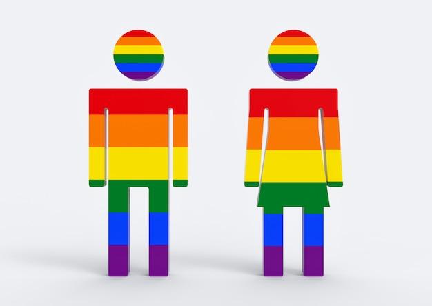 Cor do arco-íris de lgbt no fundo masculino e fêmea do branco do om do símbolo do ícone do gênero. Foto Premium