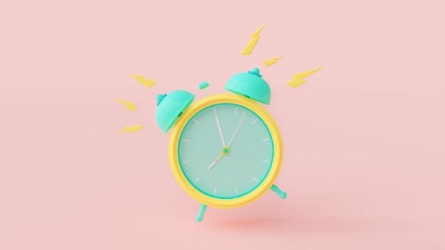Cor verde e amarela do despertador com o trajeto de grampeamento no rosa. Foto Premium