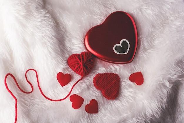 Coração, dia dos namorados, vista superior, coração vermelho dia dos namorados Foto Premium