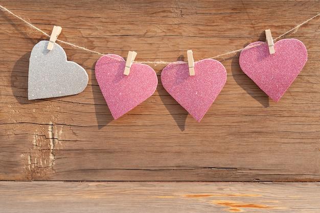 Corações de glitter Foto Premium