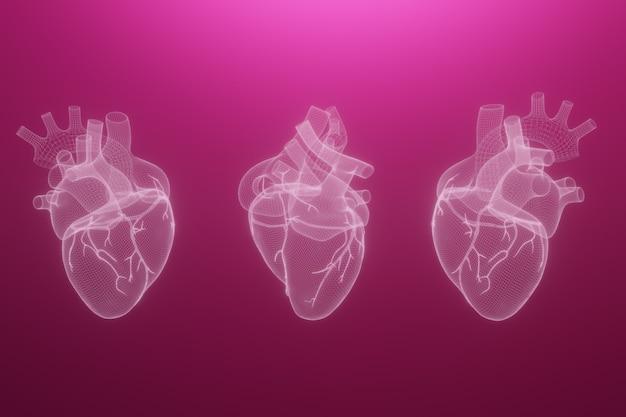 Corações de wireframe 3d render isolado Foto Premium