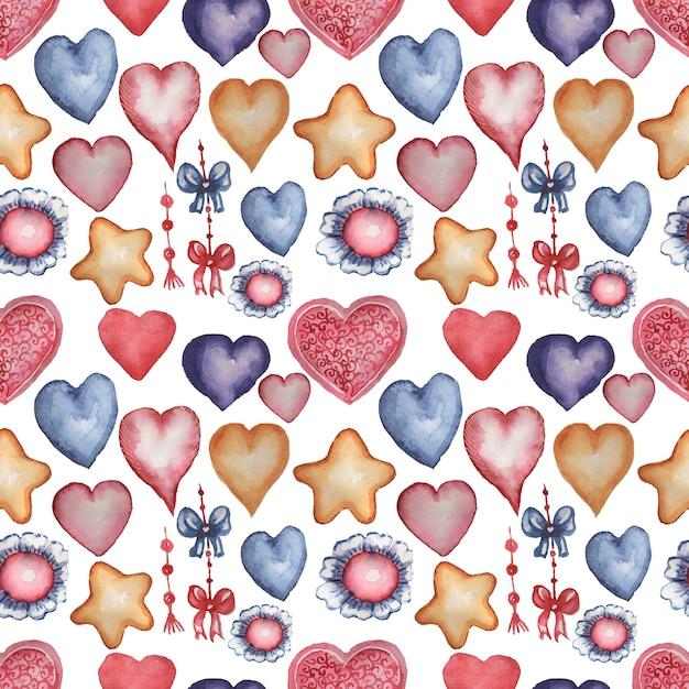 Corações, estrelas, flores, ilustração desenhada à mão em aquarela de caracol. padrão uniforme. impressão, têxteis. vintage, retro. cor vermelha, azul laranja. Foto Premium