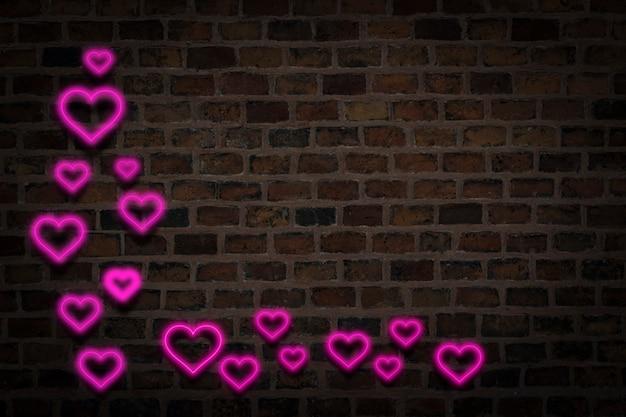 Corações rosa, sinal de néon no fundo da parede de fogo. conceito de dia dos namorados, amor. Foto Premium