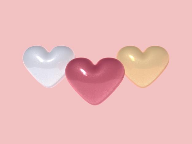 Corações tridimensionais Foto Premium
