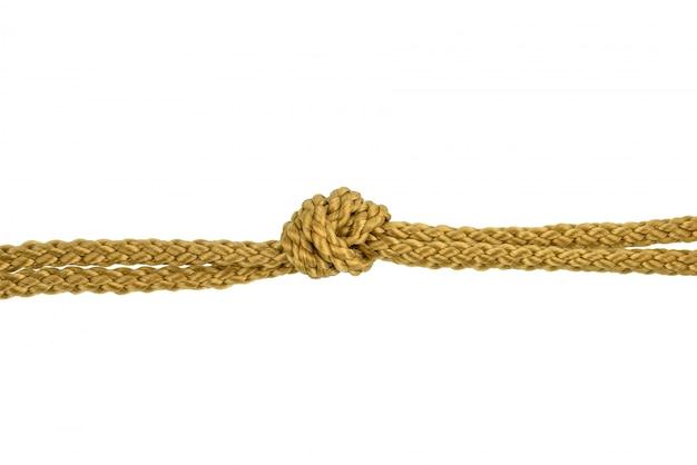 Corda de fio ou corda de juta com nó isolado Foto Premium