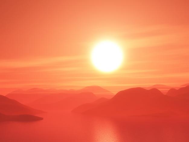 Cordilheira 3d contra um céu pôr do sol Foto gratuita