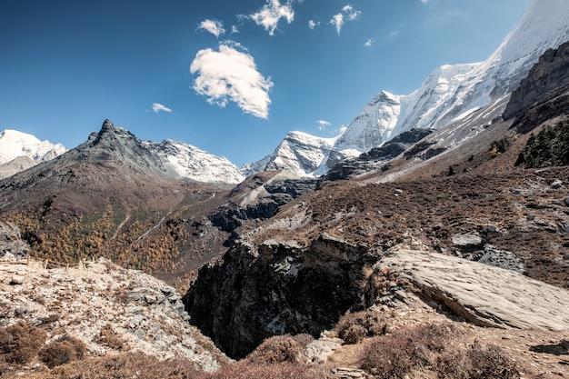 Cordilheira de neve no vale rochoso Foto Premium