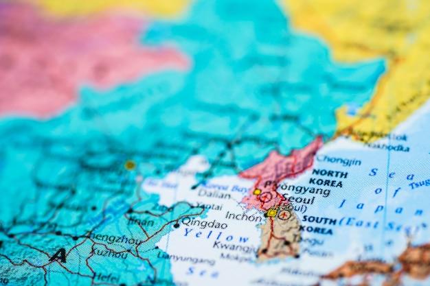 Coreia, mapa da ásia. Foto Premium