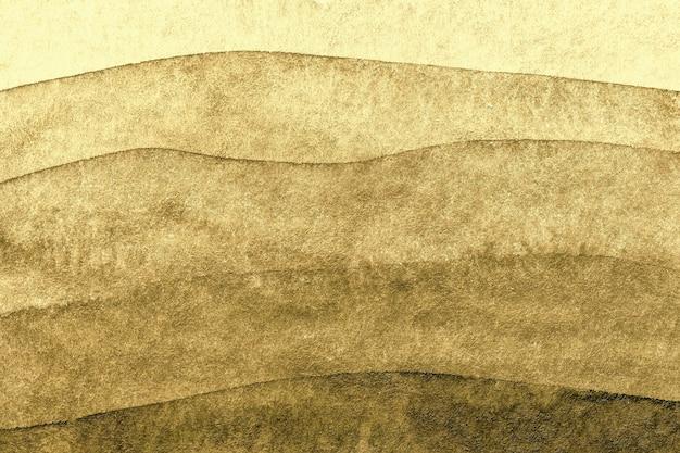 Cores douradas do fundo da arte abstrata. pintura em aquarela sobre tela com padrão de ondas marrons. Foto Premium