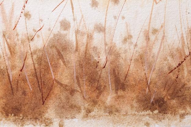 Cores marrons e brancas do fundo da arte abstrata. pintura em aquarela sobre papel áspero Foto Premium