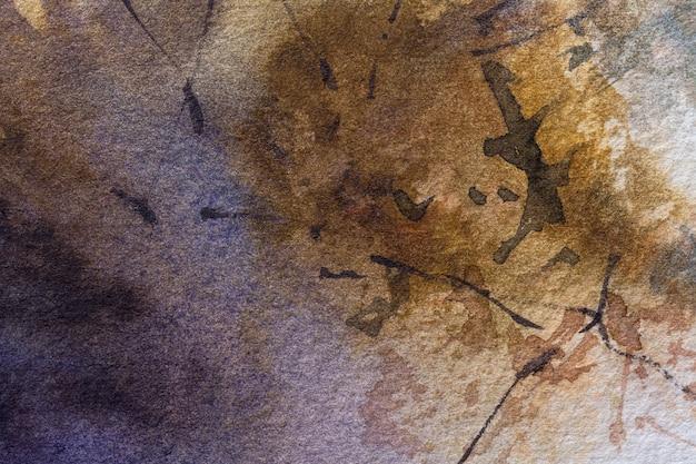 Cores marrons escuras do fundo da arte abstrata. pintura em aquarela sobre papel áspero com cores bege. Foto Premium
