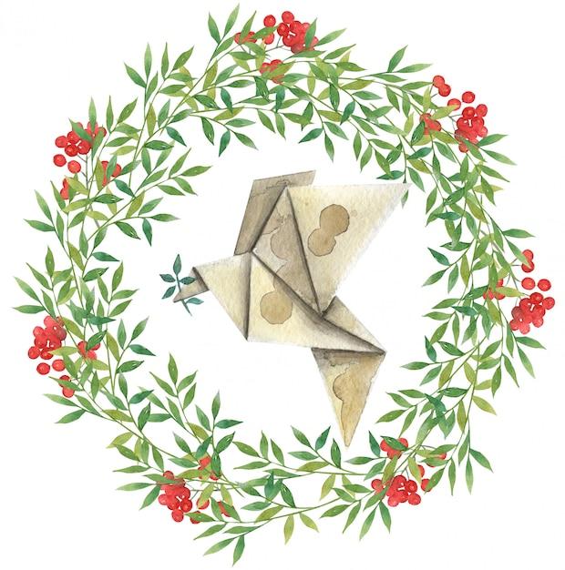 Coroa de flores em aquarela de folhas verdes e frutas vermelhas com um pássaro de papel (origami) Foto Premium