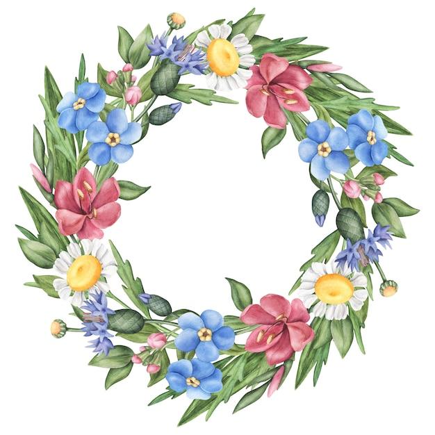 Coroa de flores silvestres verão, folhas e ervas Foto Premium