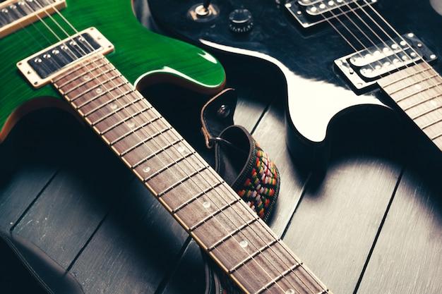 Corpo de guitarra elétrica e detalhe do pescoço Foto Premium